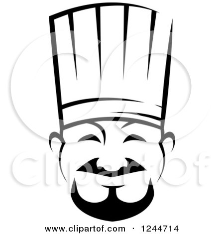 Clipart of a Black and White Happy Asian Male Chef - Royalty Free Vector Illustration by Vector Tradition SM