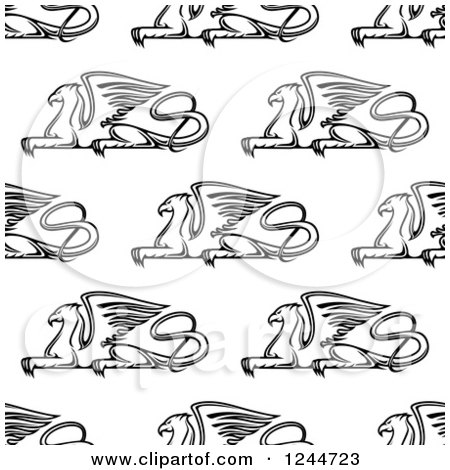 Clipart of a Seamless Pattern Background of Black and White Griffins - Royalty Free Vector Illustration by Vector Tradition SM