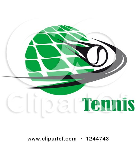 Clipart of a Flying Tennis Ball and Net with Text - Royalty Free Vector Illustration by Vector Tradition SM