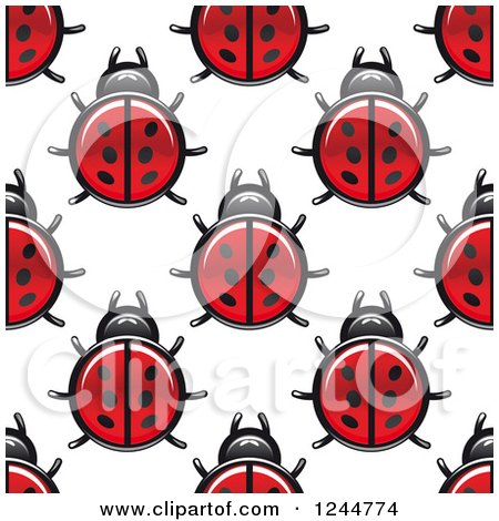 Clipart of a Seamless Pattern Background of Ladybugs - Royalty Free Vector Illustration by Vector Tradition SM