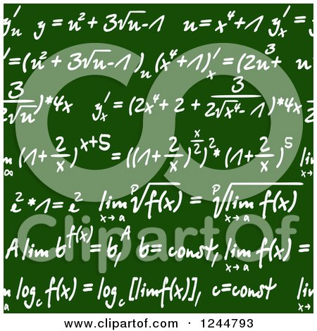 Clipart of Seamless Math Formulas Written on a Chalkboard - Royalty Free Vector Illustration by Vector Tradition SM
