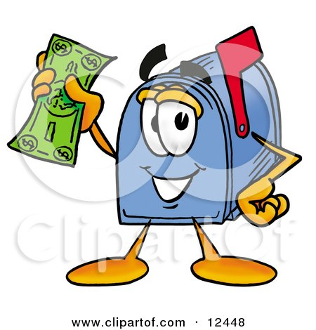Clipart Picture of a Blue Postal Mailbox Cartoon Character Holding a Dollar Bill by Toons4Biz