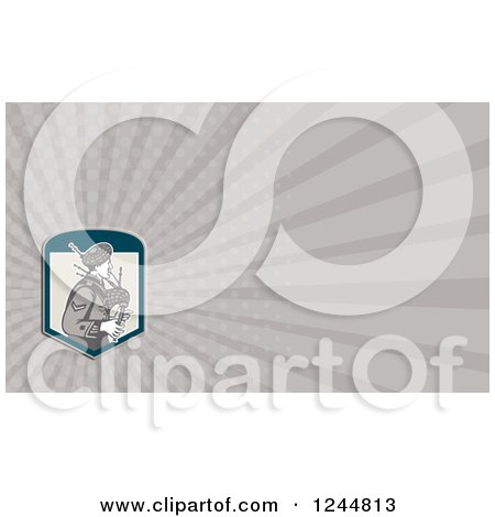 Clipart of a Gray Ray Bagpiper Background or Business Card Design - Royalty Free Illustration by patrimonio