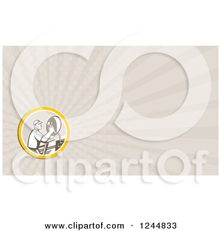 Clipart of a Satellite Dish Installer Background or Business Card Design - Royalty Free Illustration by patrimonio