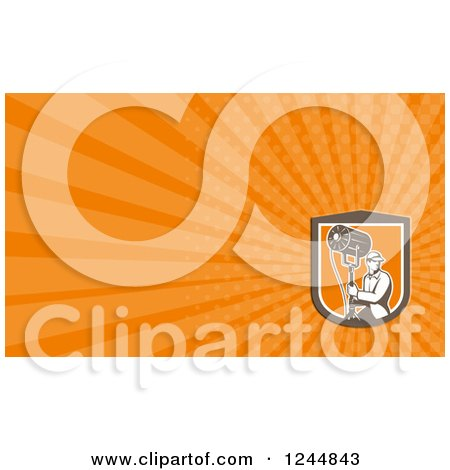 Clipart of a Lighting or Sound Man Background or Business Card Design - Royalty Free Illustration by patrimonio