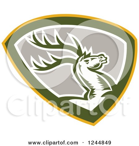 Clipart of a Retro Woodcut Deer Jmping in a Shield - Royalty Free Vector Illustration by patrimonio