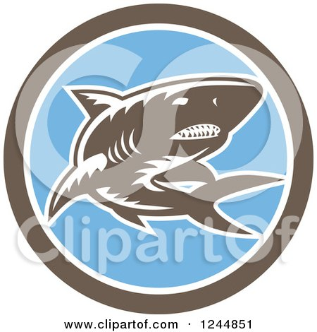 Clipart of a Retro Woodcut Shark in a Circle - Royalty Free Vector Illustration by patrimonio