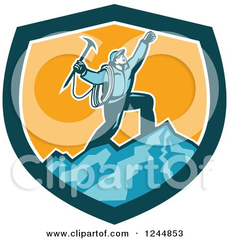 Clipart of a Retro Male Mountain Climber Cheering on a Summit in a Shield - Royalty Free Vector Illustration by patrimonio
