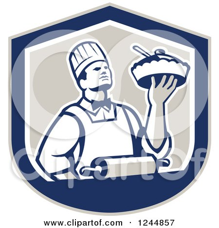 Clipart of a Retro Chef Holding a Pie in a Shield - Royalty Free Vector Illustration by patrimonio