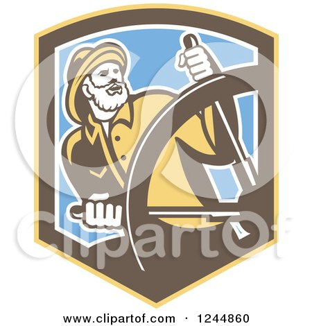 Clipart of a Retro Captain Fisherman Steering in a Shield - Royalty Free Vector Illustration by patrimonio