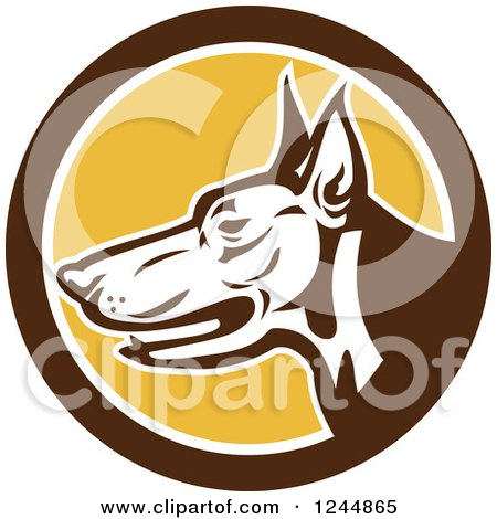 Clipart of a Retro Doberman Dog Face in Profile in a Circle - Royalty Free Vector Illustration by patrimonio