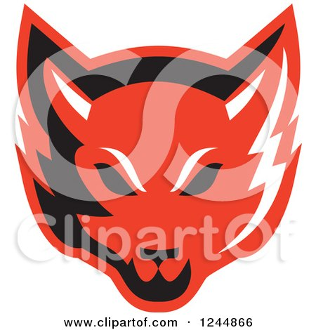 Clipart of a Retro Red Fox Face - Royalty Free Vector Illustration by patrimonio