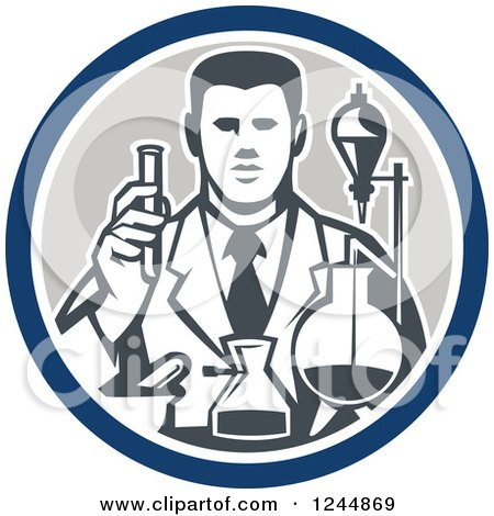 Clipart of a Retro Scientist Working with Lab Equipment in a Circle - Royalty Free Vector Illustration by patrimonio