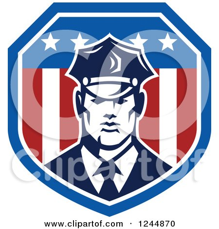 Clipart of a Security Guard in an American Flag Shield - Royalty Free Vector Illustration by patrimonio