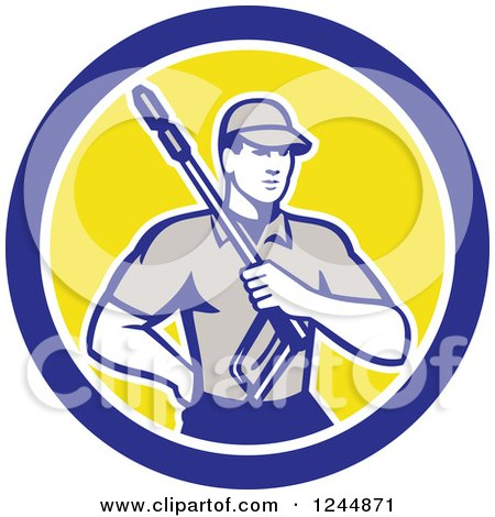 Clipart of a Retro Pressure Washer Worker in a Circle - Royalty Free Vector Illustration by patrimonio