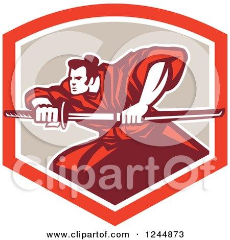 Clipart of a Retro Samurai Warrior with a Katana Sword in a Shield - Royalty Free Vector Illustration by patrimonio