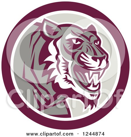 Clipart of a Retro Growling Tiger in a Circle - Royalty Free Vector Illustration by patrimonio