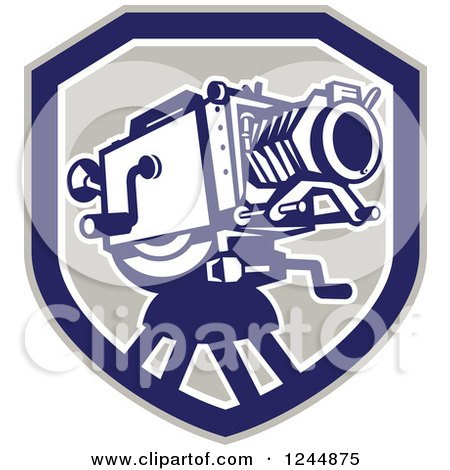 Clipart of a Retro Movie Camera in a Shield - Royalty Free Vector Illustration by patrimonio