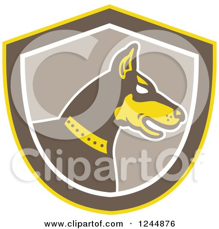 Clipart of a Retro Doberman Pinscher Dog in Profile in a Shield - Royalty Free Vector Illustration by patrimonio
