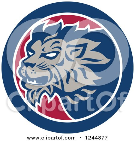 Clipart of a Retro Lion Head in a Circle - Royalty Free Vector Illustration by patrimonio