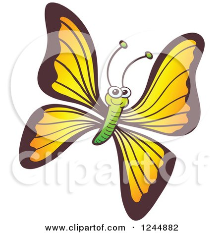 Clipart of a Happy Smiling Yellow and Green Butterfly - Royalty Free Vector Illustration by Zooco