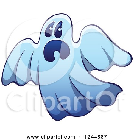 Clipart of a Scared Blue Ghost - Royalty Free Vector Illustration by Zooco