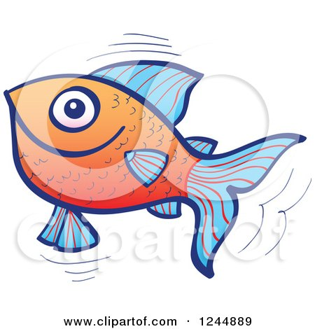 Clipart of a Happy Jumping Blue and Orange Fish - Royalty Free Vector Illustration by Zooco