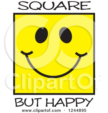 Clipart of a Square but Happy Yellow Face - Royalty Free Vector ...