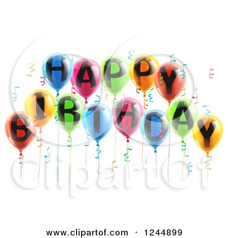 Clipart of 3d Colorful Party Balloons and Confetti with Happy Birthday Text - Royalty Free Vector Illustration by AtStockIllustration