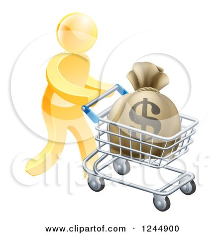 Clipart of a 3d Gold Man Pushing a Money Bag in a Shopping Cart - Royalty Free Vector Illustration by AtStockIllustration