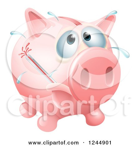 Sick Piggy Bank with a Fever and Bursting Thermometer Posters, Art Prints