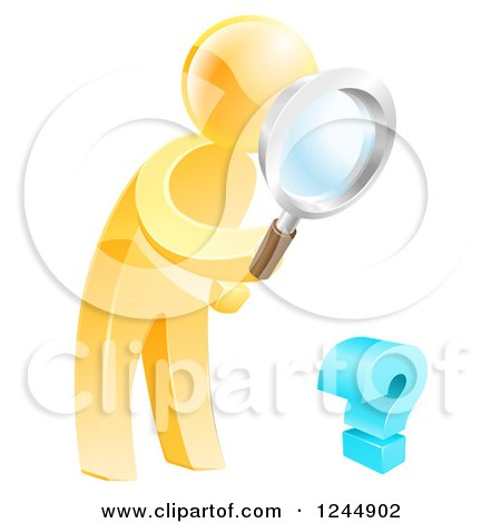 Clipart of a 3d Gold Man Searching for Answers with a Magnifying Glass - Royalty Free Vector Illustration by AtStockIllustration