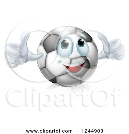 Clipart of a Soccer Ball Character Giving Two Thumbs up - Royalty Free Vector Illustration by AtStockIllustration