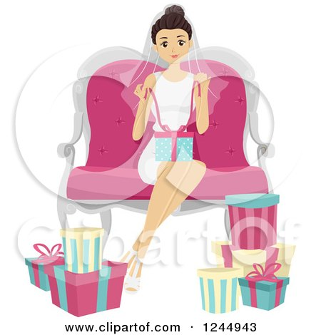 Clipart of a Bridal Shower of a Woman in a Tub with Gifts ...
