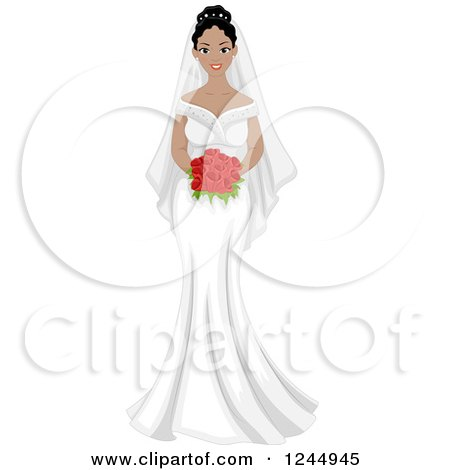 Clipart of a Beautiful Black Bride Holding a Bouquet - Royalty Free Vector Illustration by BNP Design Studio