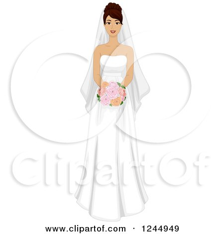 Clipart of a Beautiful Hispanic Bride Holding a Red Bouquet - Royalty Free Vector Illustration by BNP Design Studio