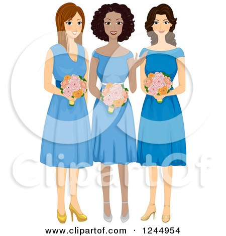 Clipart of a Beautiful Bridesmaids in Purple Dresses - Royalty ...