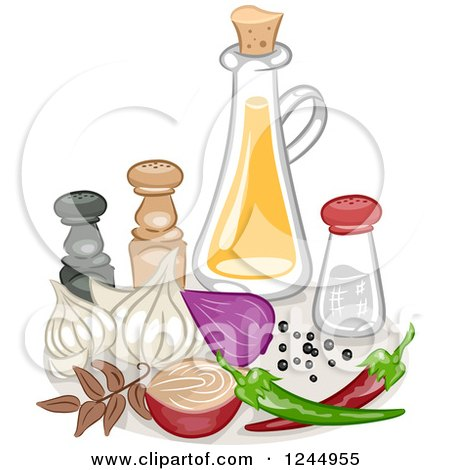 Clipart of a Still Life of Condiments and Spices - Royalty Free Vector Illustration by BNP Design Studio