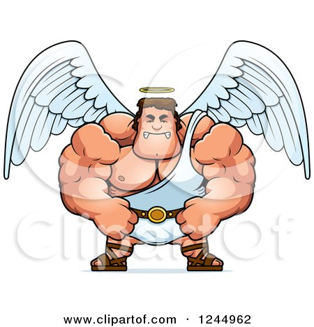 Clipart of a Mad Brute Muscular Male Angel - Royalty Free Vector Illustration by Cory Thoman