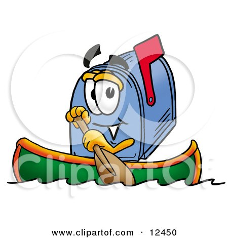Clipart Picture of a Blue Postal Mailbox Cartoon Character Rowing a Boat by Toons4Biz