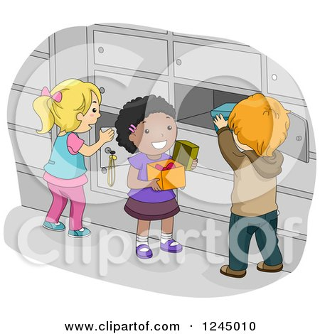 Clipart of Children Putting Items in Their School Lockers - Royalty Free Vector Illustration by BNP Design Studio