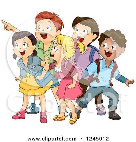 Clipart of Excited School Children Looking and Pointing - Royalty Free Vector Illustration by BNP Design Studio