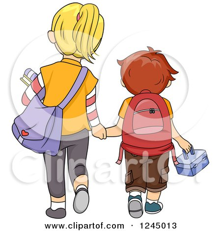 Clipart of a Rear View of a Big Sister and Little Brother Walking to School - Royalty Free Vector Illustration by BNP Design Studio