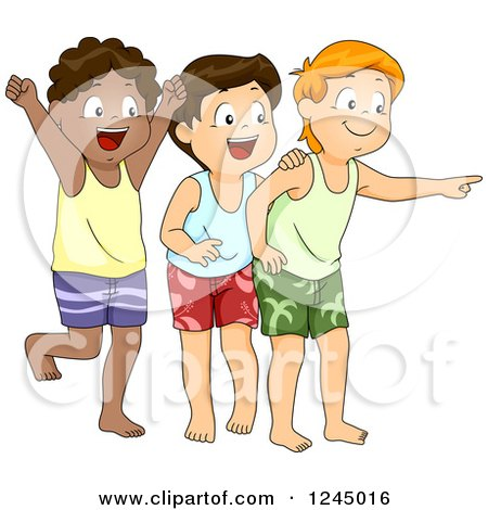 Clipart of a Group of Boys Cheering and Pointing - Royalty Free Vector Illustration by BNP Design Studio