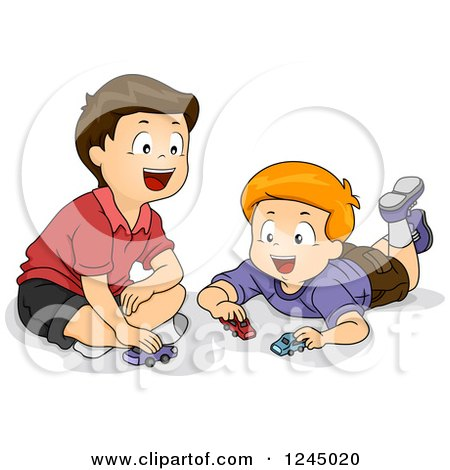 Clipart of Happy Boys Playing with Toy Cars - Royalty Free Vector Illustration by BNP Design Studio