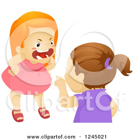 Clipart of Angry Girls Fighting - Royalty Free Vector Illustration by BNP Design Studio
