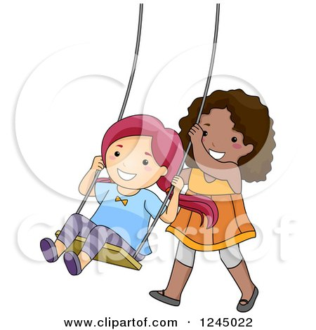 Clipart of Happy Girls Playing on a Swing - Royalty Free Vector Illustration by BNP Design Studio