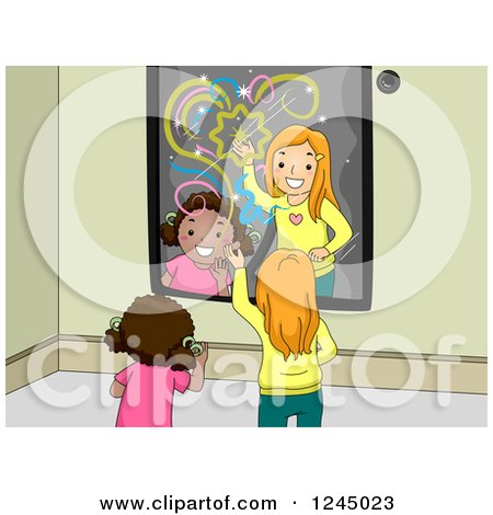 Clipart of Girls Playing in Front of an Interactive Mirror - Royalty Free Vector Illustration by BNP Design Studio