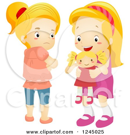 Clipart of a Jealous Girl Eyeing a New Doll That Belongs to Her Friend - Royalty Free Vector Illustration by BNP Design Studio
