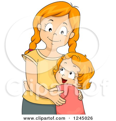 Clipart of Red Haired Sisters Hugging - Royalty Free Vector Illustration by BNP Design Studio